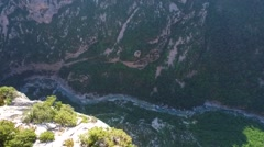 Aerial of beautiful valley and river canyon in Verdon Gorge Stock Footage