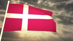 Flag Denmark 03 Stock Footage
