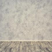 Grunge interior concrete wall, wood floor. Room for display or montage produc - stock photo