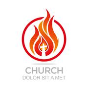 Logo fire rescue church christ savior religion vector Stock Illustration