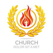 Logo fire rescue church christ savior religion vector - stock illustration