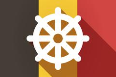 Long shadow Belgium flag with a dharma chakra sign Stock Illustration