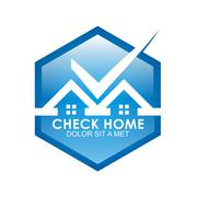 check the blue house logo shielded Checklist Approved - stock illustration
