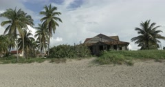 Old Beach House in Cuba Falling Apart Stock Footage