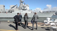 SAN DIEGO, JANUARY 2016, US Navy USS Stockdale San Diego Drive Out Harbour Stock Footage