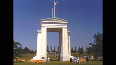 Vintage 16mm film, 1952, Vancouver peace arch Stock Footage