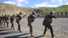 California USA, JANUARY 2016, US Marine Soldiers At Shooting Training Stock Footage