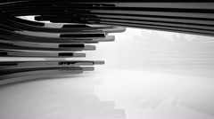 Abstract interior with glossy black sculpture. 3D rendering. - stock footage