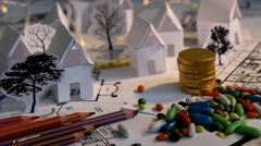 Stock Video Footage of blueprint - map - tree - houses - cutouts - crayons 04