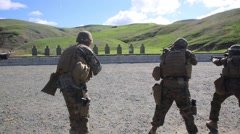 California USA, JANUARY 2016, Three US Marine Soldiers At Shooting Training Stock Footage