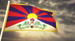 Flag Tibet 03 Stock Footage