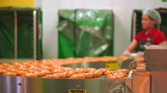 Doughnut production line in action. Shallow focus slow motion video - stock footage