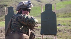 California USA, JANUARY 2016, Close Up US Marine Soldiers At Shooting Training Stock Footage