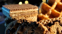 Food - Waffles - chocoloate - cookies 01 Stock Footage