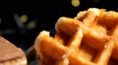 Food - Waffles - chocoloate - cookies 04 Stock Footage