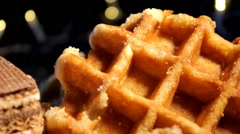Food - Waffles - chocoloate - cookies 03 - stock footage