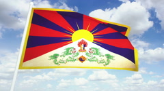 Flag Tibet 02 Stock Footage