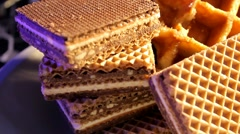 Food - Waffles - chocoloate 04 Stock Footage