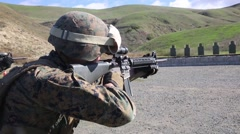 California USA, JANUARY 2016, Close Up US Marine Soldier At Shooting Training M4 Stock Footage