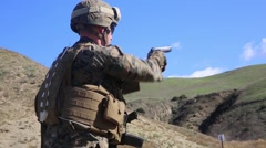 California USA, JANUARY 2016, Close Up US Marine Soldier At Shooting Training Stock Footage