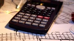 Blueprint  - calculator 001 Stock Footage