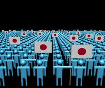Stock Illustration of Crowd of abstract people with many Japanese flags illustration