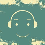 Music headphones smiley grunge - stock illustration