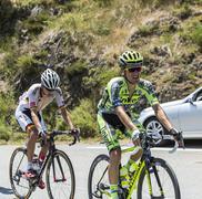 Rafal Majka on Col D'Aspin - Tour de France 2015 - stock photo