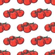 Hand drawn seamless tomato background - stock illustration