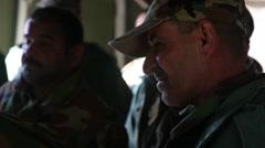 ERBIL IRAQ, JANUARY 2016, Iraq Soldiers Look To US Trainer Stock Footage