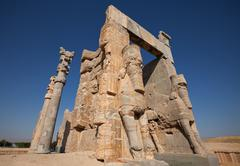 Entrance Gate of All Nations from Ruins of Persepolis in Shiraz Stock Photos
