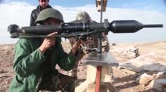 ERBIL IRAQ, JANUARY 2016, Iraq Soldier Adjust Panzerfaust 3 Stock Footage