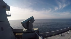 PACIFIC OCEAN, JANUARY 2016, Military Ship Firing RIM-116 Rolling Airframe Stock Footage