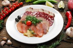 Catering - meat assortment plate Stock Photos