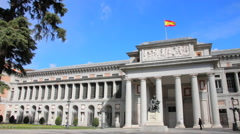 Prado Museum in Madrid, a major tourist landmark in central Madrid Stock Footage