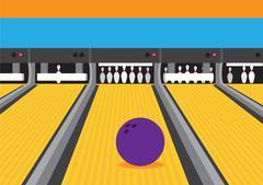 Bowling Ball on Lane Vector Illustration - stock illustration
