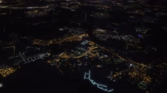 Moscow city night aerial landscape. View from plane Stock Footage