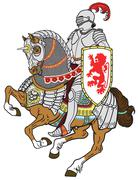 medieval knight on horse - stock illustration