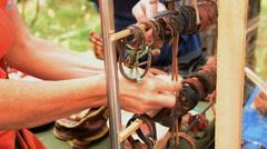 Woman choosing leather bracelet - stock footage