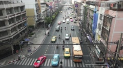 BANGKOK, CIRCA 2015: View on asian road city traffic from bidge, perspective Stock Footage