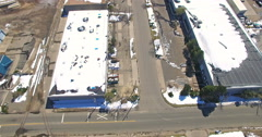 Aerial view of industrial park in the Winter. Stock Footage