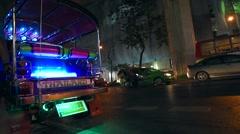 Bangkok evening streets near MBK and Tokyu shopping Centres - stock footage