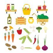 Organic Food Icons Set - stock illustration