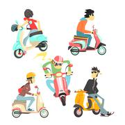 People On Scooters Set - stock illustration