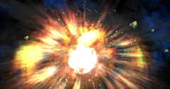Digital Particle Animation of a multiple Explosion Stock Footage