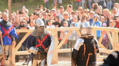 Audience watching knight battle - stock footage