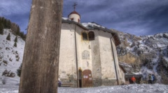 Hyperlapse of a chapel in the Alps Stock Footage