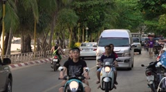 THAILAND, CIRCA 2015: Road traffic on tourist asian beach street. Slow motion - stock footage