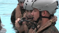 OKINAWA JAPAN, JANUARY 2016, US Navy Soldiers In Swimming Pool Test Respirator - stock footage