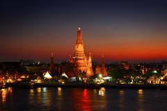 Wat Arun at twilight in Bangkok Stock Photos